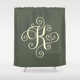 K Monogram - Sage Green Shower Curtain