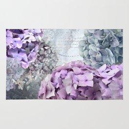 Purple Vintage Flower Hydrangea Hortensia Collage Rug