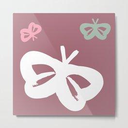 Flying Butterflies Pattern Full Color Metal Print