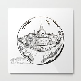 City in a glass ball . Gift Ideas for Him and Her Metal Print