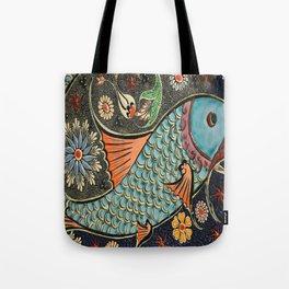 bohemian folk art orange aqua blue japanese good luck koi fish Tote Bag