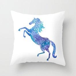Celestial rearing blue horse Throw Pillow