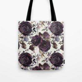Elegant Dark Burgundy Blossom on Light Cream  Tote Bag