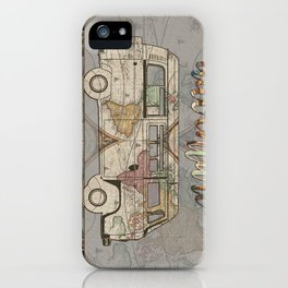 adventure awaits world map design 1 iPhone Case