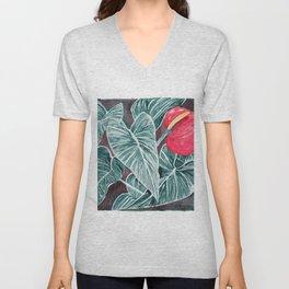 Pop Anthurium Leafs and Flowers Unisex V-Neck