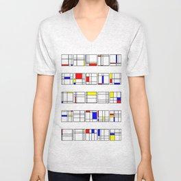 "Math Art Digital Print - ""mondRian"" Unisex V-Neck"