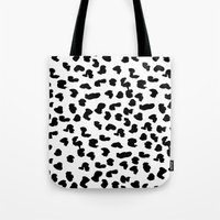snow leopard Tote Bags featuring SNOW LEOPARD by LadyLaurenElizabeth