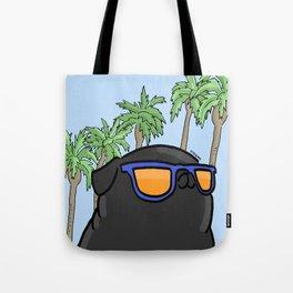 Black pug in California Tote Bag