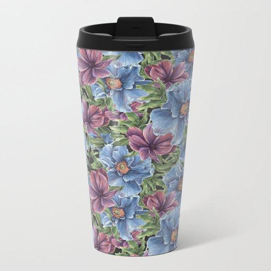Hibiscus Flowers on Chalkboard Metal Travel Mug