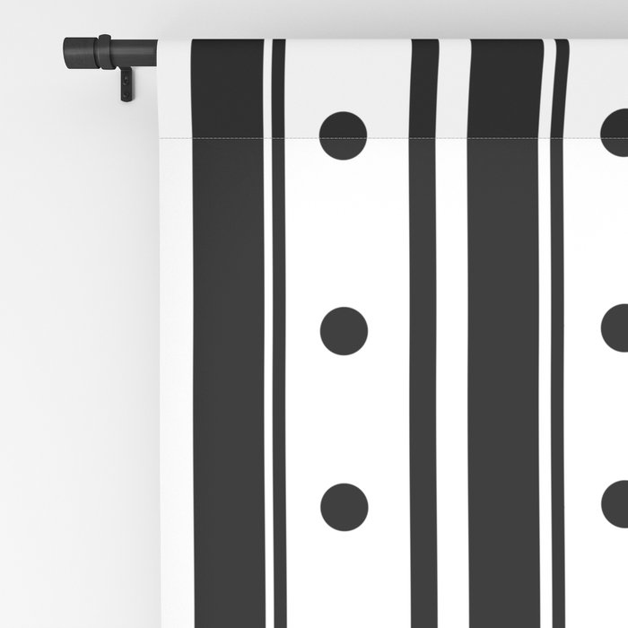 Black Stripes and Dots Blackout Curtain