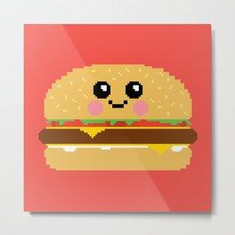 Happy Pixel Hamburger Metal Print