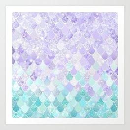 Mermaid Iridescent Purple and Teal Pattern Art Print