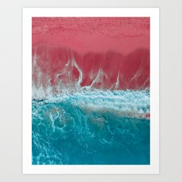 SPLASH III - Electric Pink Sand and Turquoise Waves Art Print Art Print
