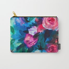 Watercolor Rose Medley with Sea Blue and Teal Carry-All Pouch
