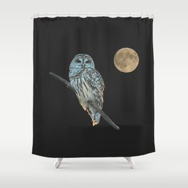 Owl, See the Moon (sq Barred Owl) Shower Curtain
