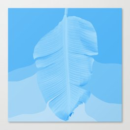 Tropical Banana Leave Pastel Blue Ombre Design Canvas Print