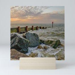 Sea defences on the Norfolk Coast Mini Art Print