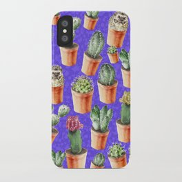Cactus pattern watercolor iPhone Case