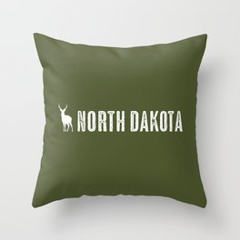 Deer: North Dakota Throw Pillow
