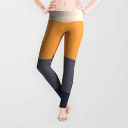 Mid Century Modern Minimalist Color Block Pattern Yellow Grey Green Leggings