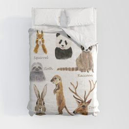 cute animals watercolor collection Comforters