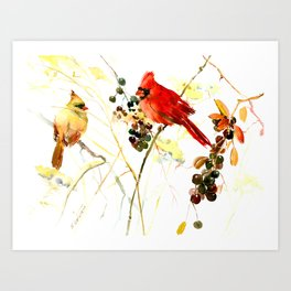 Cardinal Birds and Berries Art Print