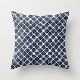 Navy Blue, White, and Black Diagonal Plaid Pattern Throw Pillow