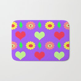 Purple daisy and heart all over print Bath Mat