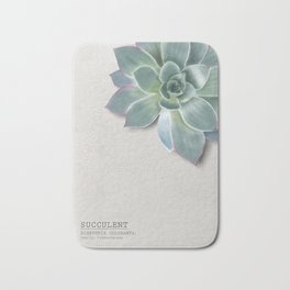 Succulent botanic print grey Bath Mat