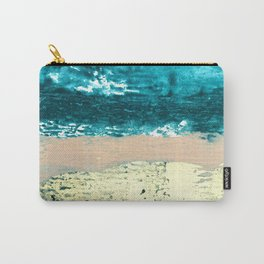Darling: a bold, abstract, mixed-media piece in gold, teal, and pink Carry-All Pouch