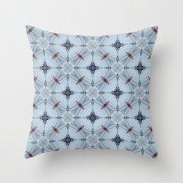 American Folk Red & Blue No. 04 Throw Pillow
