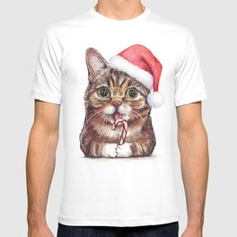 Christmas Cat in Santa Hat Whimsical Holiday Animals T-shirt