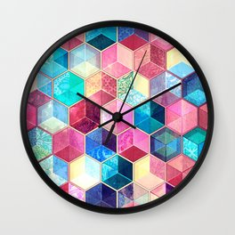 Topaz & Ruby Crystal Honeycomb Cubes Wall Clock