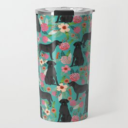 Black Labrador Retriever dog floral gifts must haves black lab lover Travel Mug