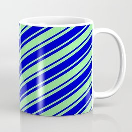 Light Green and Blue Colored Lined Pattern Coffee Mug