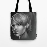 no face Tote Bags featuring Face by clayscence