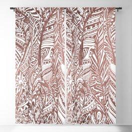 Rose gold foil bohemian aztec feathers Blackout Curtain