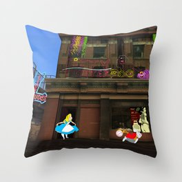 Alice in Crackland Throw Pillow