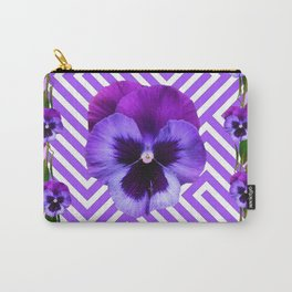 LILAC PURPLE ON PURPLE PANSIES  FLOWERS PATTERNS Carry-All Pouch
