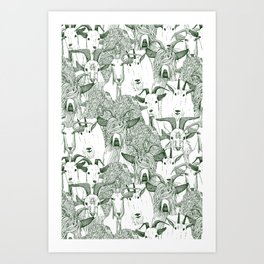 just goats dark green Art Print