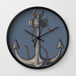 Navy Blue Anchor Wall Clock