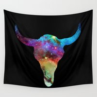 bull Wall Tapestries featuring SPACE BULL by Caio Trindade