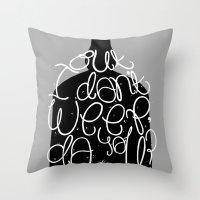 bukowski Throw Pillows featuring Bluebird - Bukowski by miles to go