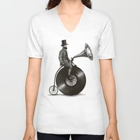 chris brown V-neck T-shirts featuring Music Man by Eric Fan