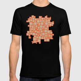 abstract cells pattern in orange and beige T-shirt