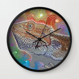 Cosmic Dragon, Bearded Dragon Art Wall Clock