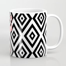 Pink flamingo - abstract geometric pattern - black and white. Coffee Mug