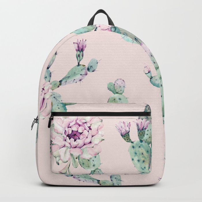 Cactus Rose Pattern on Pink Backpack
