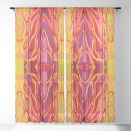 Orange Candy Striper by Chris Sparks Sheer Curtain