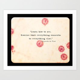 ABSTRACT SCIENCE ART - Vintage Disease Culture from 1976 - da vinci quote Art Print